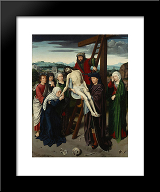 The Deposition: Modern Black Framed Art Print by Gerard David