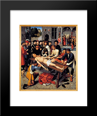 The Flaying Of The Corrupt Judge Sisamnes: Modern Black Framed Art Print by Gerard David