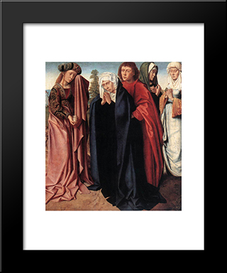 The Holy Women And St. John At Golgotha: Modern Black Framed Art Print by Gerard David