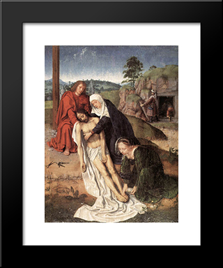 The Lamentation: Modern Black Framed Art Print by Gerard David
