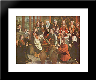 The Marriage At Cana: Modern Black Framed Art Print by Gerard David