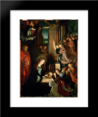 The Nativity: Modern Black Framed Art Print by Gerard David