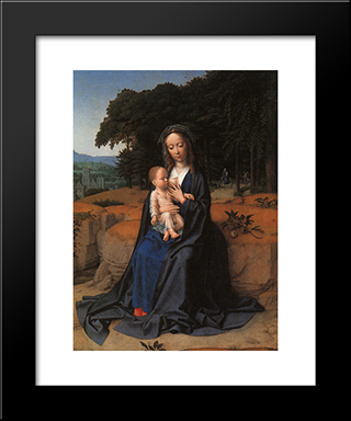 The Rest On The Flight Into Egypt: Modern Black Framed Art Print by Gerard David
