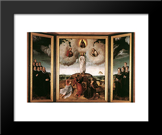 The Transfiguration Of Christ: Modern Black Framed Art Print by Gerard David
