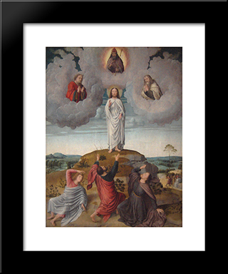 The Transfiguration Of Christ (Central Panel): Modern Black Framed Art Print by Gerard David