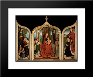 The Triptych Of The Sedano Family: Modern Black Framed Art Print by Gerard David