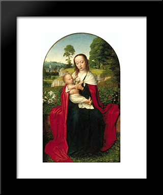 The Virgin And Child In A Landscape: Modern Black Framed Art Print by Gerard David