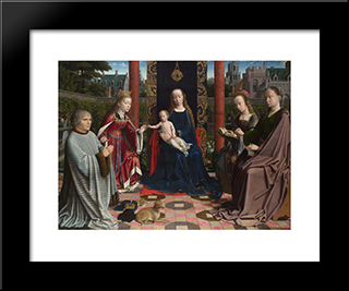 The Virgin And Child With Saints And Donor: Modern Black Framed Art Print by Gerard David