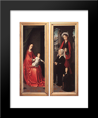 Triptych Of Jan Des Trompes (Rear Of The Wings): Modern Black Framed Art Print by Gerard David