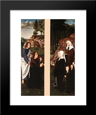 Triptych Of Jean Des Trompes (Side Panels): Modern Black Framed Art Print by Gerard David
