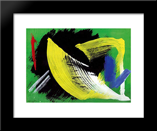 Composition A Fond Vert: Modern Black Framed Art Print by Gerard Schneider