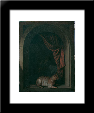 A Cat At The Window Of A Painters' Studios: Modern Black Framed Art Print by Gerrit Dou