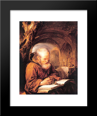 A Hermit Praying: Modern Black Framed Art Print by Gerrit Dou