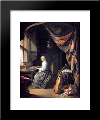 A Lady Playing The Clavichord: Modern Black Framed Art Print by Gerrit Dou