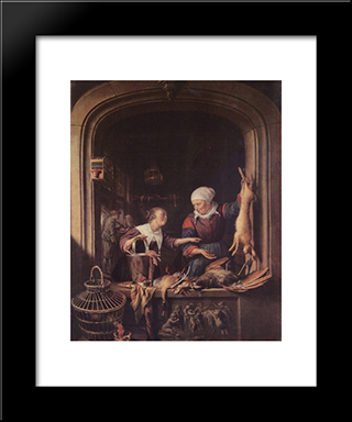 A Poulterer'S Shop: Modern Black Framed Art Print by Gerrit Dou