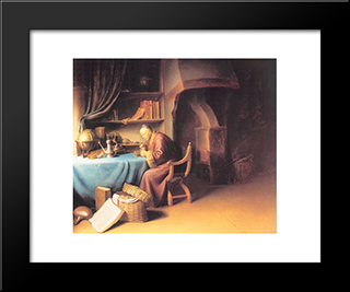 An Old Man Lighting His Pipe In A Study: Modern Black Framed Art Print by Gerrit Dou