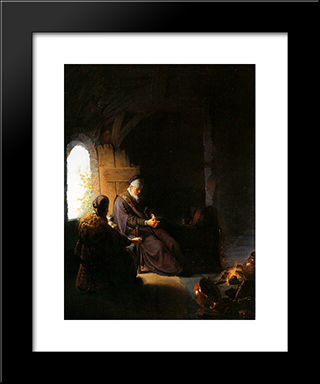 Anna And Blind Tobit: Modern Black Framed Art Print by Gerrit Dou