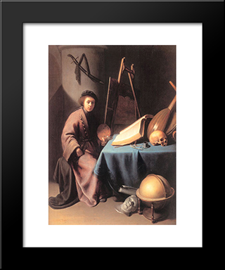 Artist In His Studio: Modern Black Framed Art Print by Gerrit Dou
