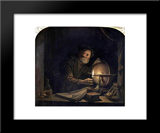 Astronomer: Modern Black Framed Art Print by Gerrit Dou