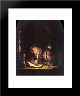 Astronomer By Candlelight: Modern Black Framed Art Print by Gerrit Dou