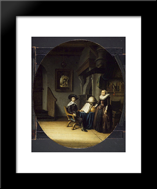 Burgomaster Hasselaar And His Wife: Modern Black Framed Art Print by Gerrit Dou
