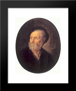 Bust Of A Man: Modern Black Framed Art Print by Gerrit Dou