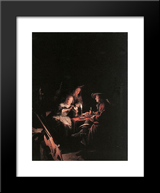 Cardplayers At Candlelight: Modern Black Framed Art Print by Gerrit Dou