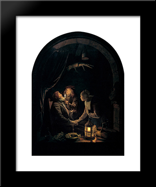 Dentist By Candlelight: Modern Black Framed Art Print by Gerrit Dou