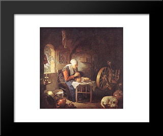 Grace Before Meat: Modern Black Framed Art Print by Gerrit Dou