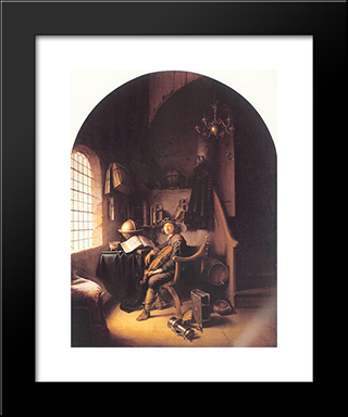 Interior With A Young Violinist: Modern Black Framed Art Print by Gerrit Dou