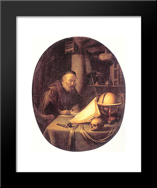 Man Interrupted At His Writing: Modern Black Framed Art Print by Gerrit Dou