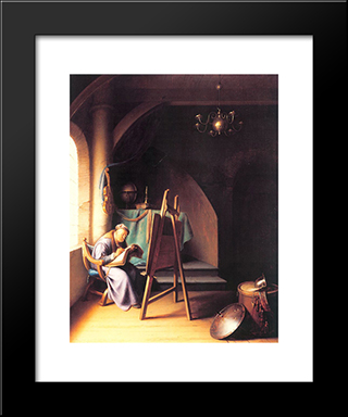 Man With Easel: Modern Black Framed Art Print by Gerrit Dou