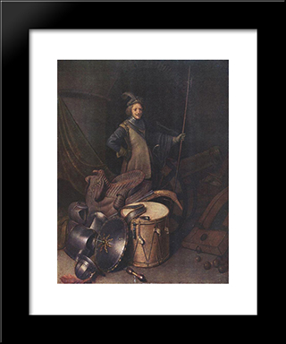 Officer Of The Marksman Society In Leiden: Modern Black Framed Art Print by Gerrit Dou