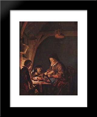Old Woman Cutting Bread: Modern Black Framed Art Print by Gerrit Dou