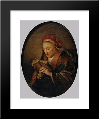 Old Woman Praying: Modern Black Framed Art Print by Gerrit Dou