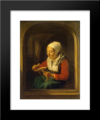 Old Woman Unreeling Threads: Modern Black Framed Art Print by Gerrit Dou