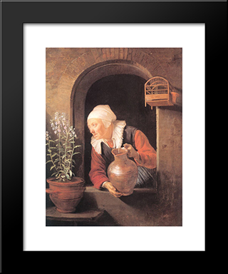 Old Woman Watering Flowers: Modern Black Framed Art Print by Gerrit Dou
