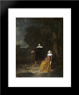 Portrait Of A Couple In A Landscape: Modern Black Framed Art Print by Gerrit Dou