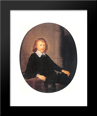 Portrait Of A Man: Modern Black Framed Art Print by Gerrit Dou