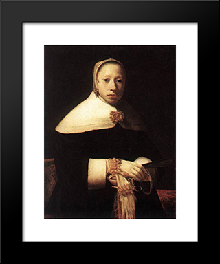 Portrait Of A Woman: Modern Black Framed Art Print by Gerrit Dou