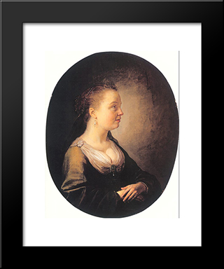 Portrait Of A Young Woman: Modern Black Framed Art Print by Gerrit Dou
