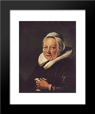 Portrait Of An Old Woman: Modern Black Framed Art Print by Gerrit Dou