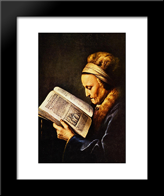 Portrait Of An Old Woman Reading: Modern Black Framed Art Print by Gerrit Dou