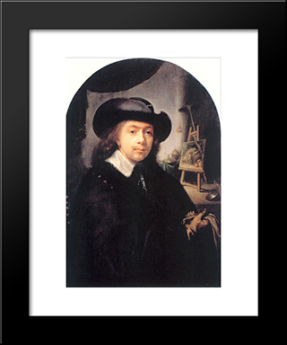 Portrait Of The Artist In His Studio: Modern Black Framed Art Print by Gerrit Dou