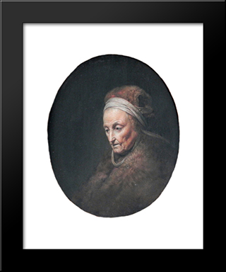 Rembrandt'S-Mother: Modern Black Framed Art Print by Gerrit Dou
