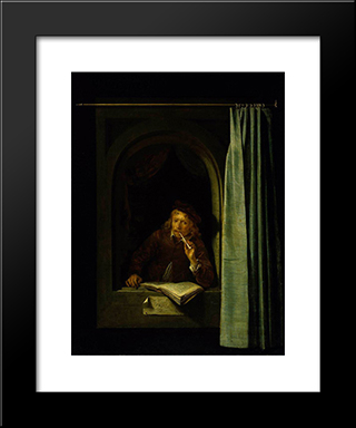 Self Portrait: Modern Black Framed Art Print by Gerrit Dou