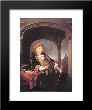 Self-Portrait: Modern Black Framed Art Print by Gerrit Dou