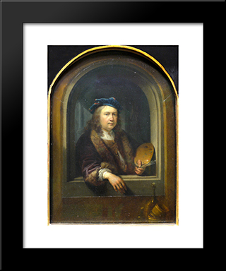 Self-Portrait With A Palette, In A Niche: Modern Black Framed Art Print by Gerrit Dou