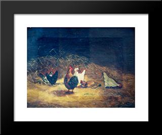Chickens: Modern Black Framed Art Print by Gheorghe Tattarescu