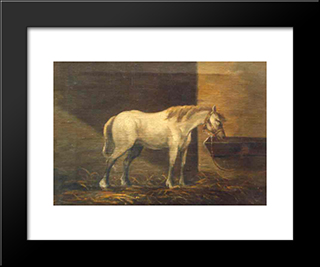 Horse In The Barn: Modern Black Framed Art Print by Gheorghe Tattarescu